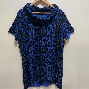 INC Blue Leopard Short Sleeve Turtleneck Sweater